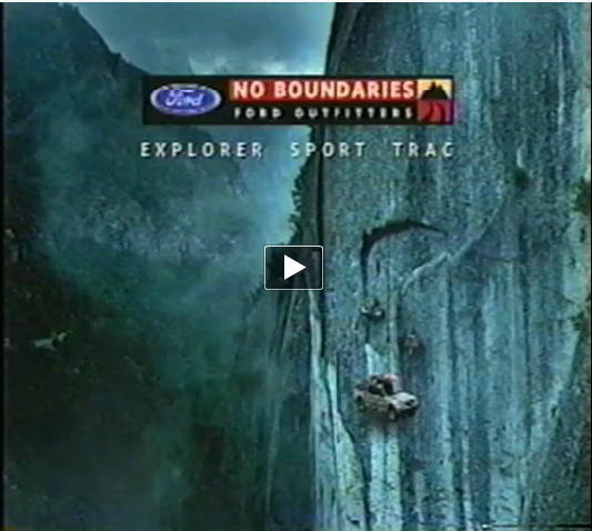 "Kevin Donald said this about this piece.""This was shot on the Super Nova Wall in Yosemite. (next to The Rostrom) Damn, the truck was heavy! It took hours to haul that thing up the face. Kenji and Hans did all the work. Mark Chapman was head rigger on this commercial and a number of Valley climbers including Ron Kauk and his son helped carry camera equipment and other essentials to the location. One evening, after finishing-up the porta-ledge scenes, Hans asked me to climb The Nose with him at night. (we had a full moon) He was serious and absolutely sure we could do it and be back on the valley floor in time for work in the morning. I made some lame-ass excuse and begged-off. Now I wish I had done it with him. Lesson learned. — with  Kenji Haroutunian and Hans Florine at Yosemite California"""