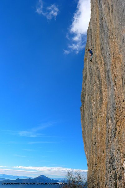Rock Climbing Photo: Mich enjoying the sun and the rock on 'la javanais...