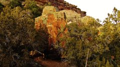 Rock Climbing Photo: Seed Block's south face, as seen from the area's f...