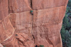 Rock Climbing Photo: Manny Rangle leads the first pitch