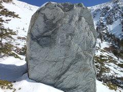 Rock Climbing Photo: Rock Hudson Boulder. Barbara Lilly climbs the face...