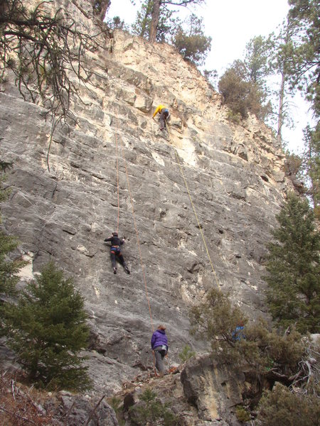 Rock Climbing Photo: Climber on right is on Suffering Succutash.  The B...