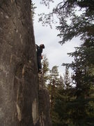 Rock Climbing Photo: Climber sizes up the next moves on Bugs Bunny, 5.8...