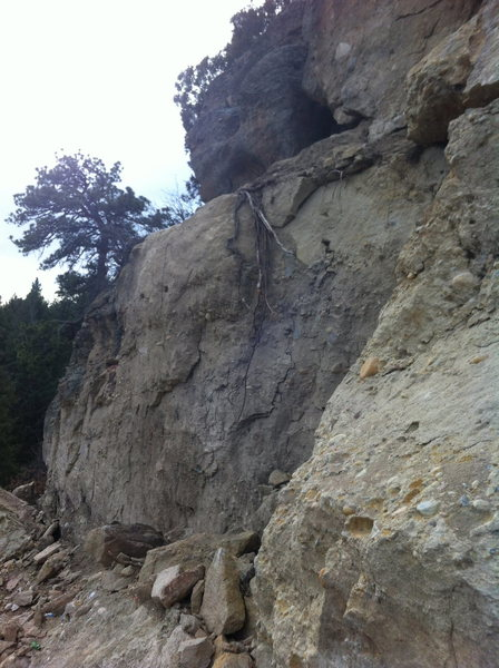 Rock Climbing Photo: Missing cliff face.