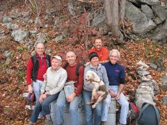 Some of the trail crew who work on Sundays, several Vulgarians here - still working hard.  So NOW you know that some of those naughty boy youngsters who gave so much as they were putting up new routes and developing the lore of the Shawangunks climbing history have grow into  people who still stay close to it all and continue to find ways to give back!