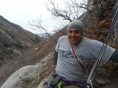 Rock Climbing Photo: Richard sitting pretty at the bolt anchors above s...