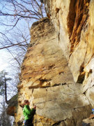 Rock Climbing Photo: Climbing the dihedral at Oak Park