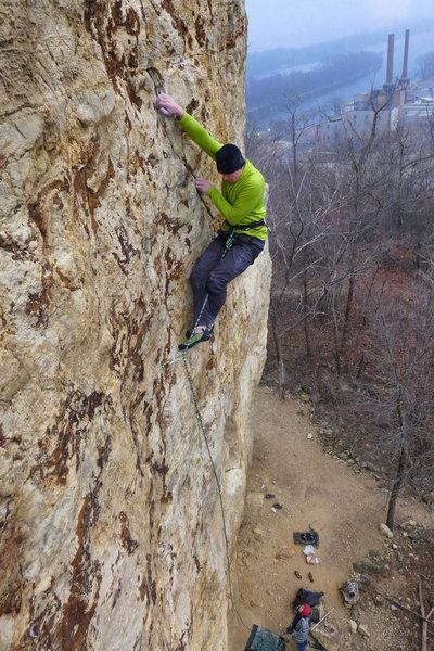 Rock Climbing Photo: Ted Kryzer finishing Mississippi Burning. Dec 02, ...
