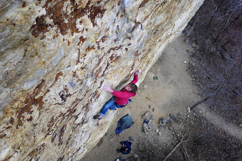 Rock Climbing Photo: Aaron Wait cruxing on Mississippi. Dec 02, 2012.