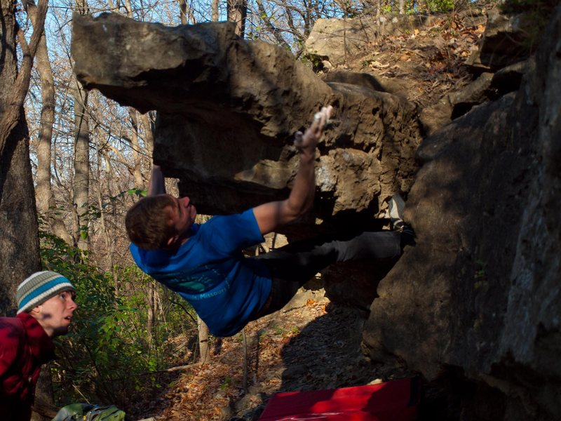Rock Climbing Photo: Slapping towards the finish.