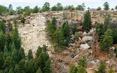 Rock Climbing Photo: Rockfall at Castlewood Canyon. Just past the Morni...