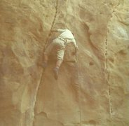 Dan McHale top roping and successfully freeing left Sculptored Crack in 1970.