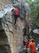 Rock Climbing Photo: Topping out on a fun problem.  Photo by Brett Dela...
