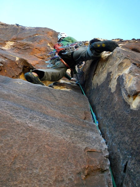 Above the first belay with good hands before the offwidth.