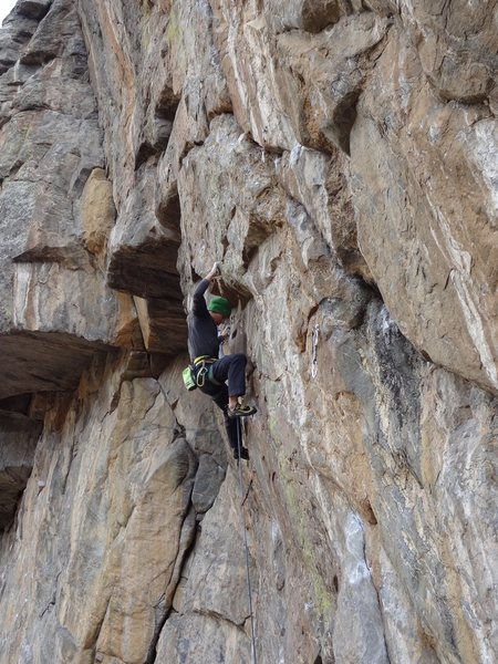 Jonathan climbing Mission Overdrive.