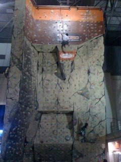 The climbing wall at Sandugo.
