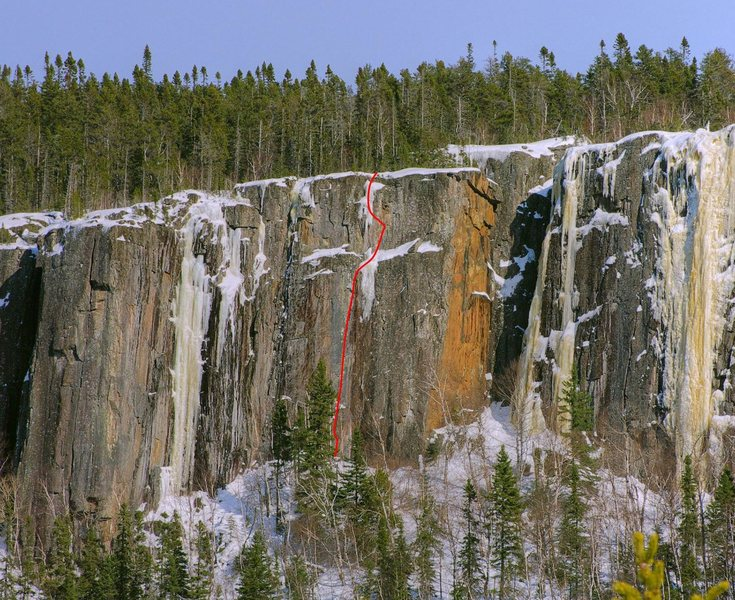 Rock Climbing Photo: The Cold Standard, with Whimpsicle to the left and...
