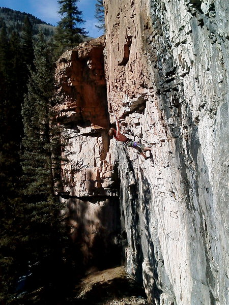 Desperado in the upper crux.