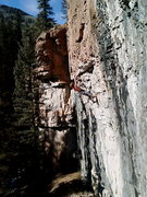 Rock Climbing Photo: Desperado in the upper crux.