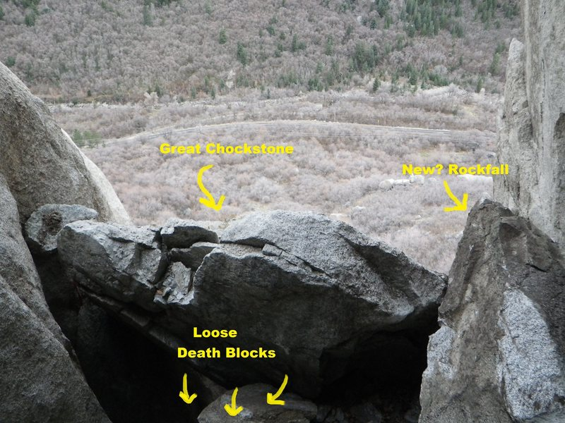 these pics were taken 12/5/12.  They show what looks like new rockfall onto the great chockstone