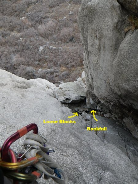 this pic was taken on the second pitch of  lazarus on 12/5/12 looking down on the chockstone belay.  you can see the big block that fell as well as all the little ones that are ready to launch.