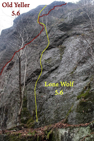 Rock Climbing Photo: two 5.6 trad routes crossing up high