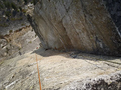 Rock Climbing Photo: from above before linking the pitch above.