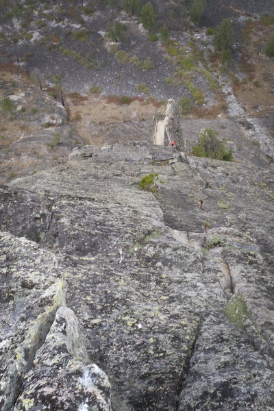 Rock Climbing Photo: Looking down from the top of the pitch below the c...