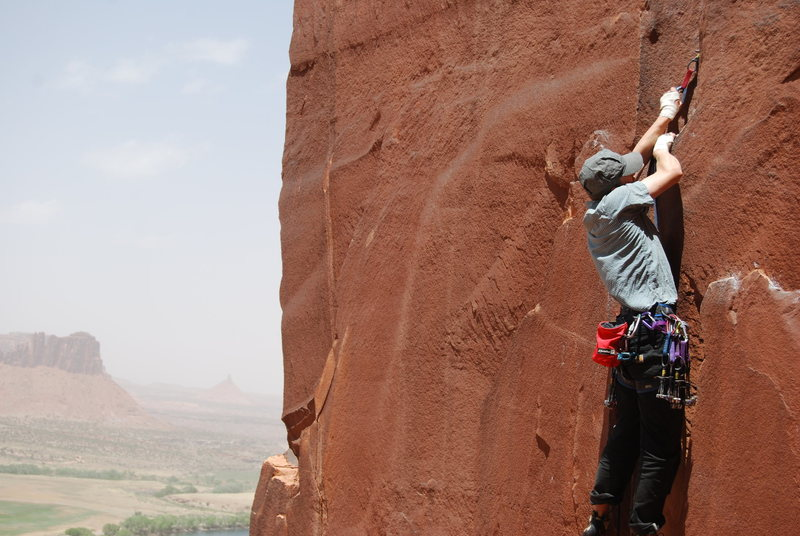 Rock Climbing Photo: scarface wall with wild duststorms in the backgrou...