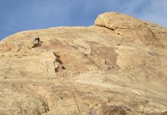 Rock Climbing Photo: Andy at the top of the dark corners P2