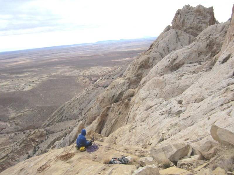 Rock Climbing Photo: Andy on belay last pitch... with the view south.