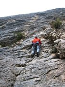 Rock Climbing Photo: Matt starting up Costaud Lulu in a light rain...