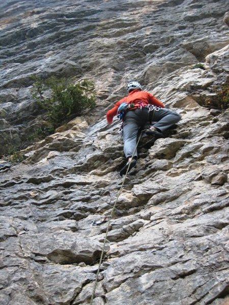 Rock Climbing Photo: Fun, steep moves on Costaud Lulu