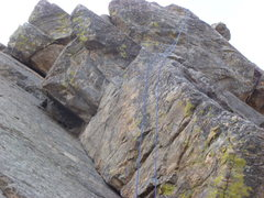 Rock Climbing Photo: Go just to the left of the rope on to the arete.