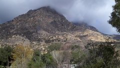 Rock Climbing Photo: View from the road. El Cajon is the peak in the ba...