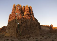 Rock Climbing Photo: Topo of the route. Strummer is on the far right