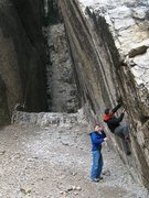 Rock Climbing Photo: Bouldering the short 6a+ crack on the North Face o...