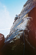 Rock Climbing Photo: Joe Ebert leads the arete variation on Beluahs boo...