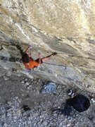 Rock Climbing Photo: Working the steep north facing routes at La Faille...