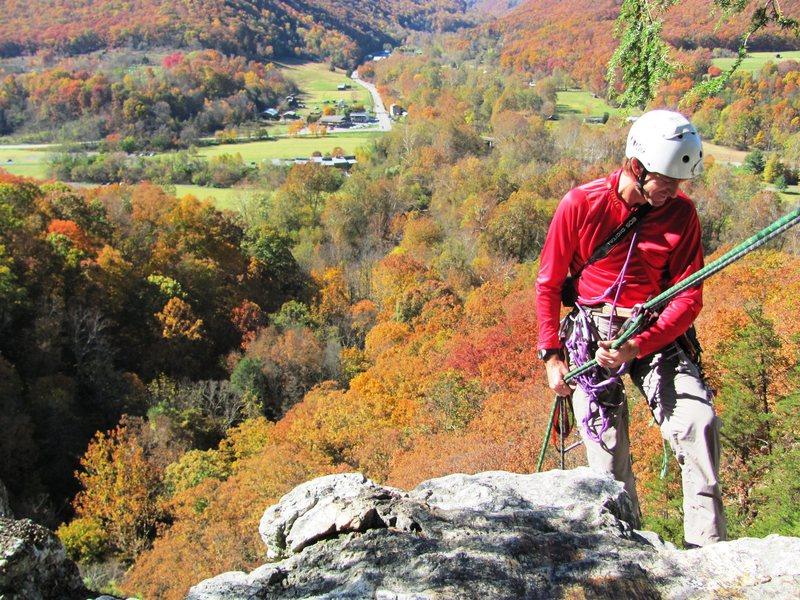 Rock Climbing Photo: Keith Rapping the Burn, Seneca, WV