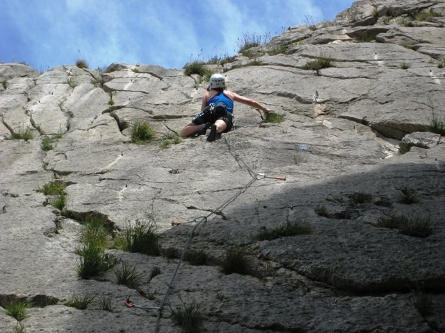 Rock Climbing Photo: Headin' to the anchor on Surprise Partie