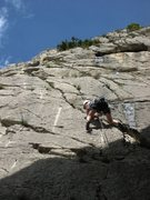 Rock Climbing Photo: Starsky at the start of the left slanting upper cr...