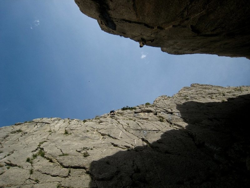 Rock Climbing Photo: Top out on Starsky, with the North Wall also in vi...