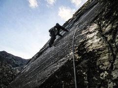 Rock Climbing Photo: Jonny pondering the crux move. Photo by Gigi. 12/3...