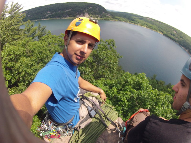 At the top of Cleopatra's Needle. Devils Lake