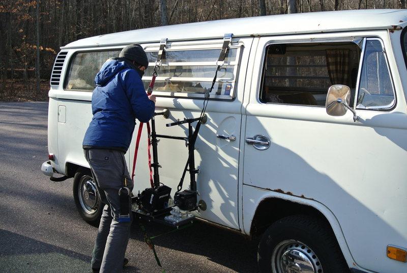 Rock Climbing Photo: V-dub Bas camera rig.