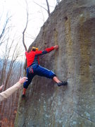 Rock Climbing Photo: Jeremy on a difficult problem unknown to me on the...