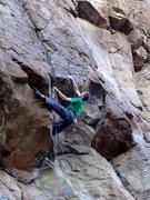 Rock Climbing Photo: Climbing through the upper roof of the direct fini...