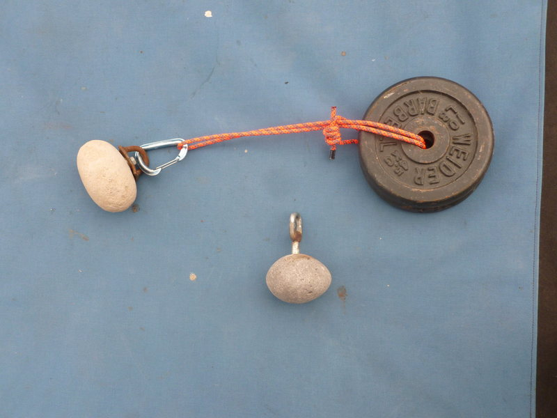 I can hang weight from these rocks to work on grip strength.