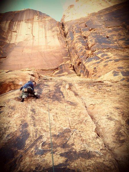 Rock Climbing Photo: Tony near the top of Stego Slab.